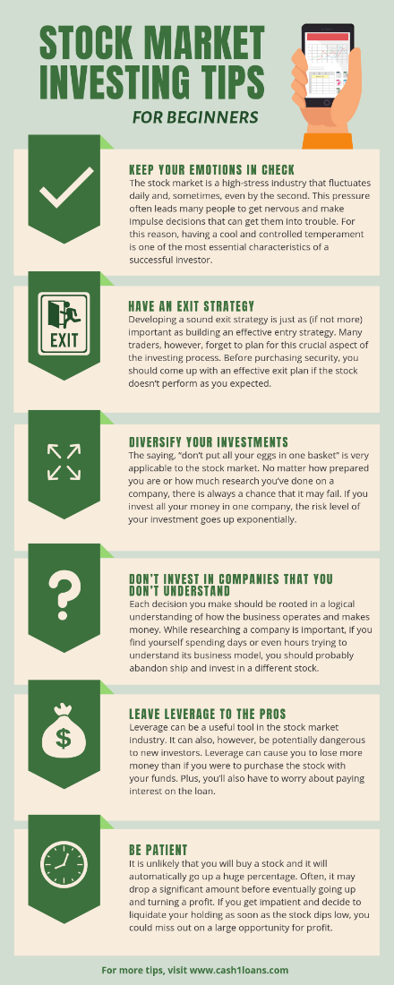 Stock Market Investing Tips for Beginners infographic