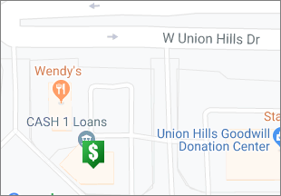 Directions to CASH 1 Loans W Union Hills Dr
