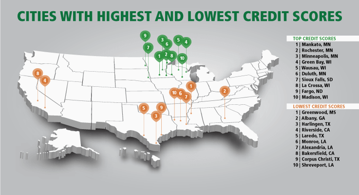 What U.S. cities have the best and worst credit