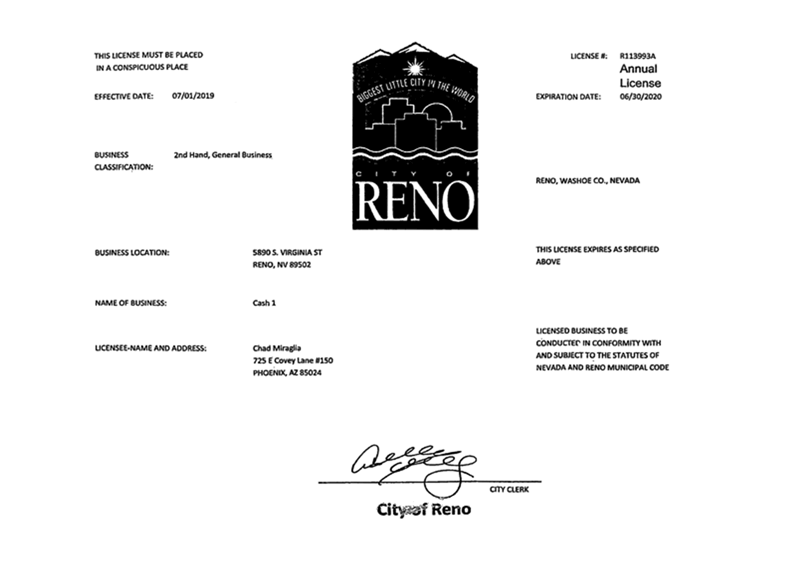 City of Reno Business License
