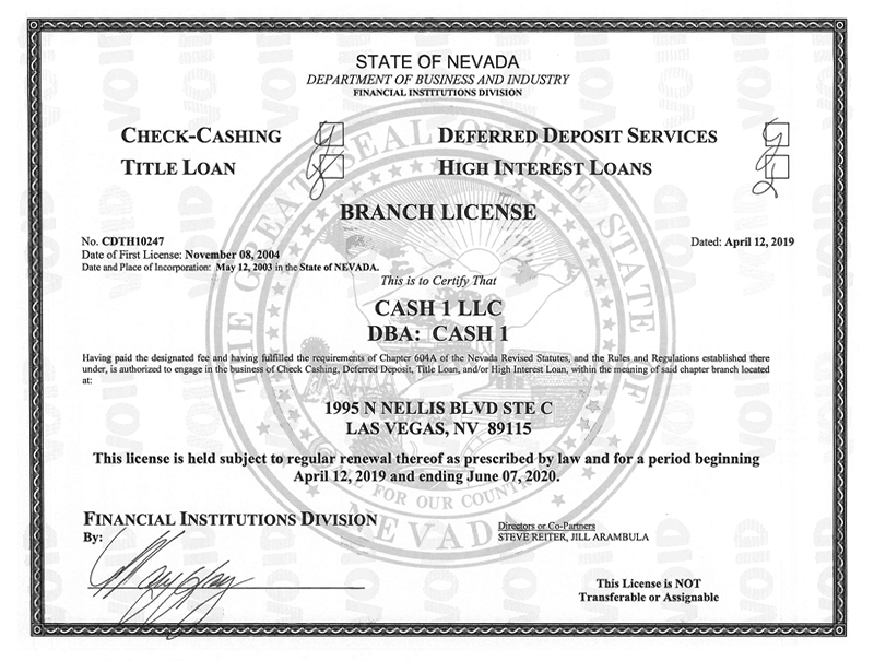 State of Nevada - Department of Business and Industry License for 1995 N Nellis Blvd Las Vegas, NV 89115