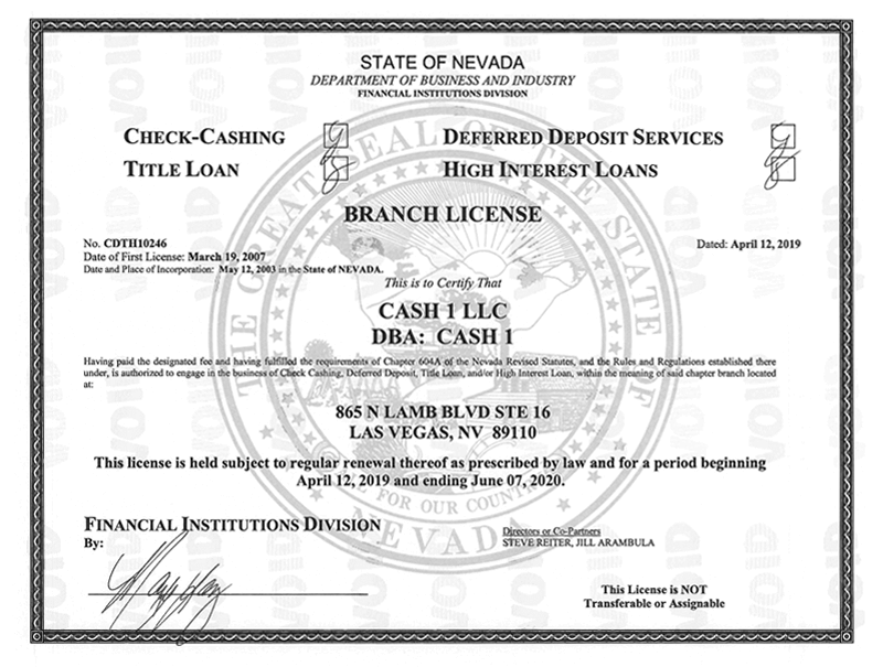 State of Nevada - Department of Business and Industry License for 865 N Lamb Blvd Ste 16, Las Vegas, NV 89110