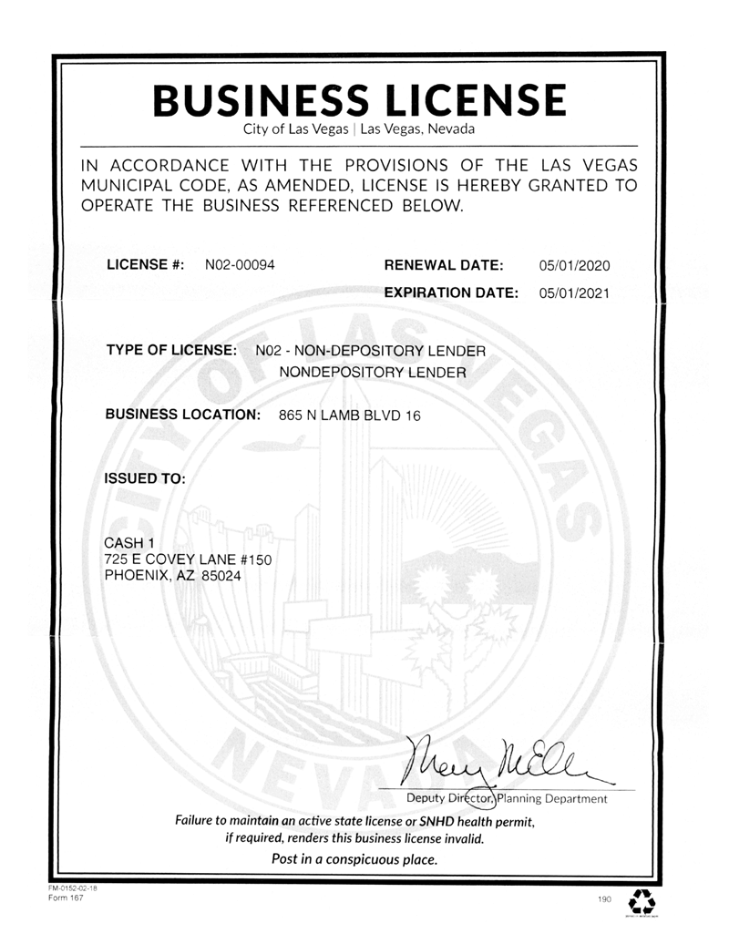 City of Las Vegas Business License for 865 N Lamb Blvd Ste 16, Las Vegas, NV 89110