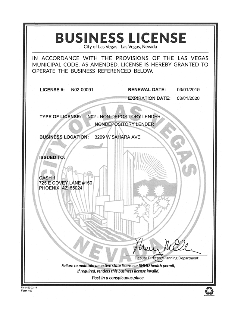 City of Las Vegas Business License for 3209 W Sahara Ave, Las Vegas, NV 89102