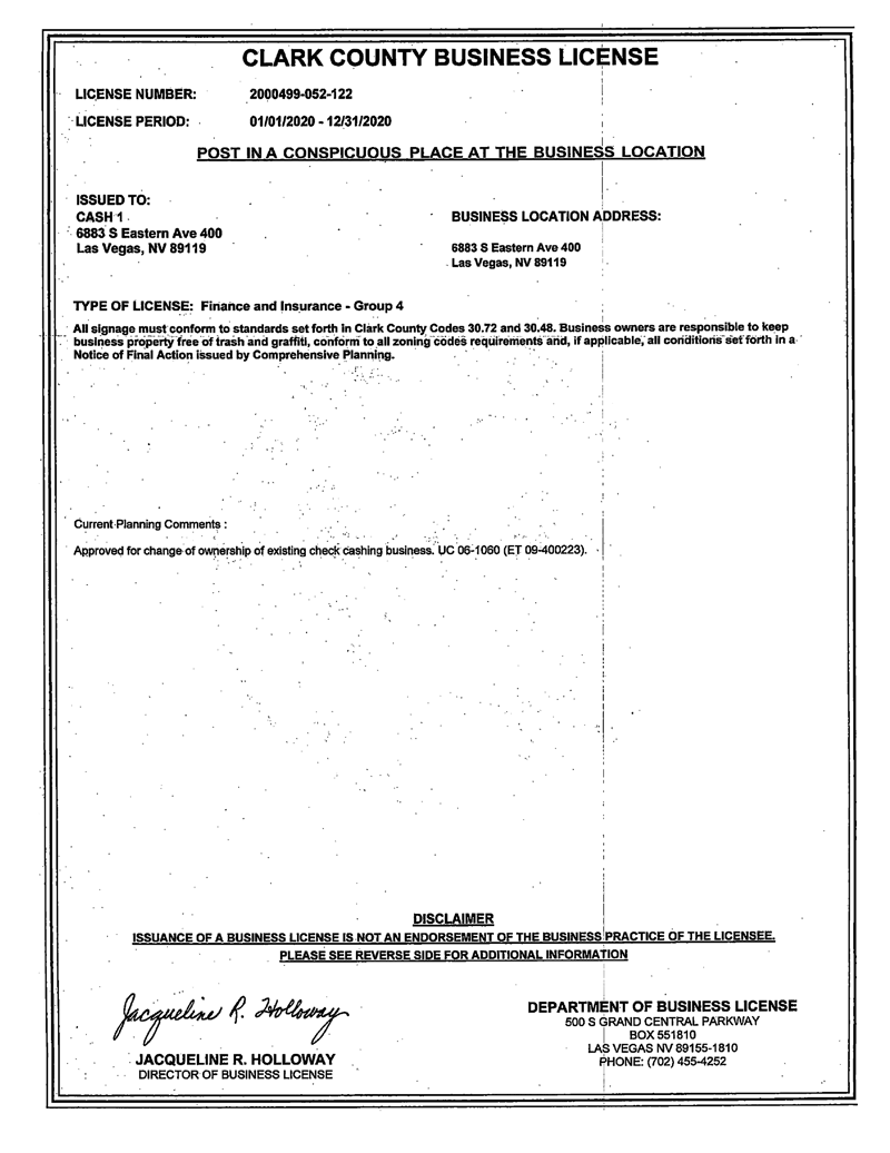 Clark County Business License for 36883 S Eastern Ave Ste 400, Las Vegas, NV 89119