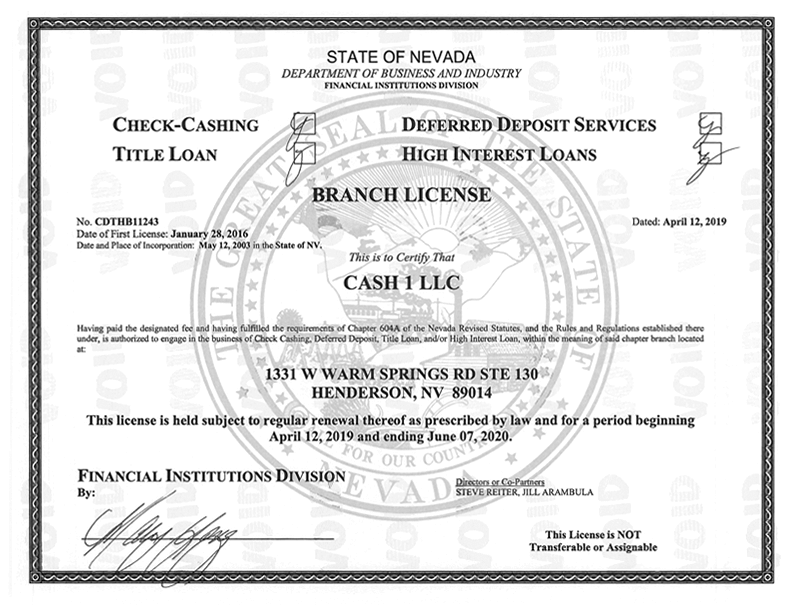 State of Nevada - Department of Business and Industry License for 1331 W Warm Springs Rd Ste 130, Henderson, NV 89014