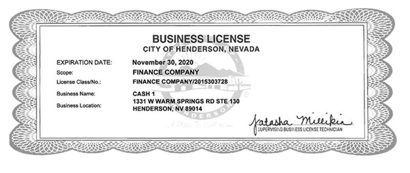 City of Henderson Business License for 31331 W Warm Springs Rd Ste 130, Henderson, NV 89014
