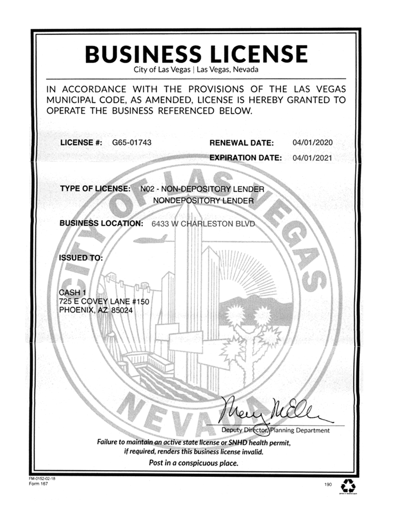 City of Las Vegas Business License for 6433 W Charleston Blvd, Las Vegas, NV 89146