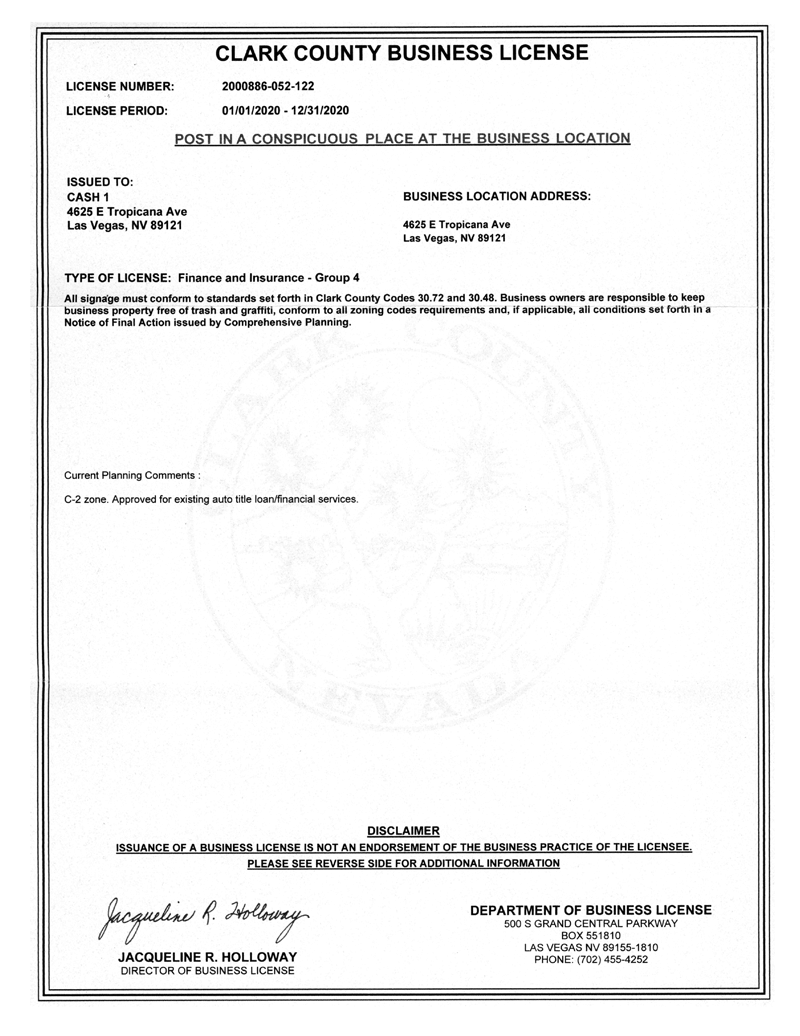 Clark County Business License Business License for 4625 E Tropicana Ave, Las Vegas, NV 89146
